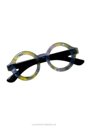 Broche amarillo y gris con forma gafas