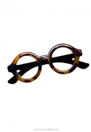 Broche ocre y negro forma de gafas