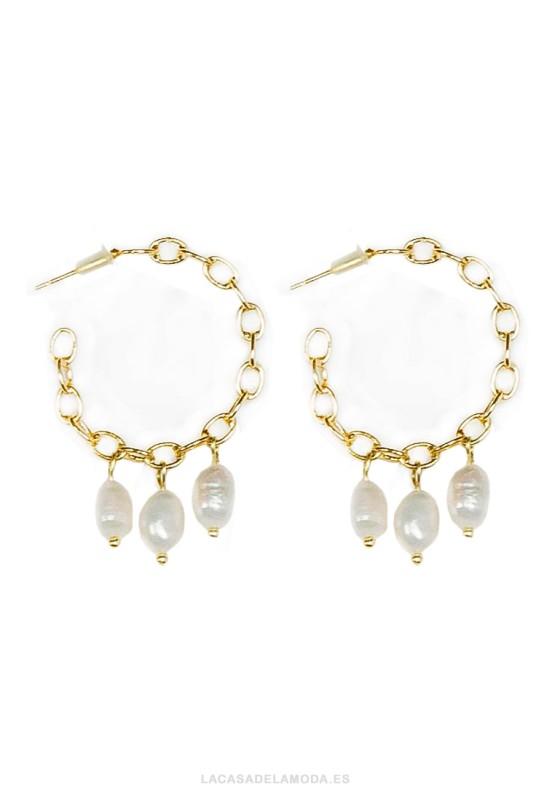 Pendientes aros con perlas