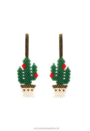 Pendientes cactus verde y dorado