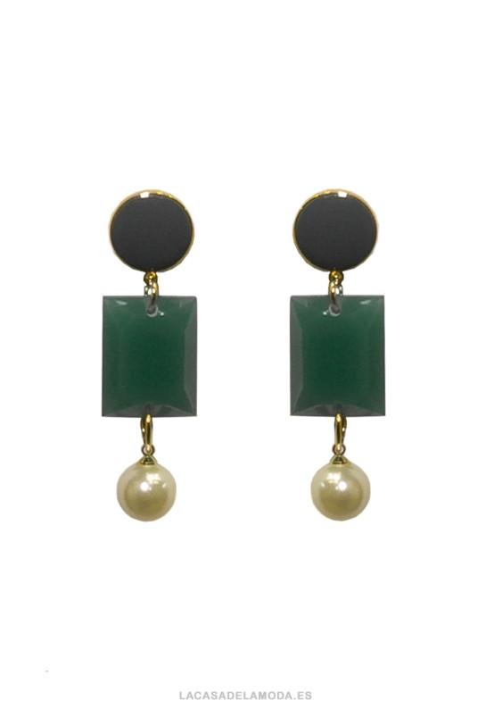 Pendientes con perlas blancas y verde
