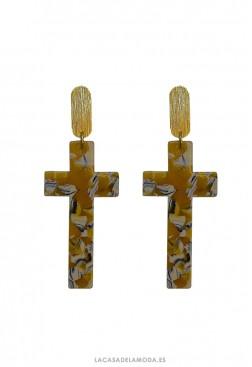 Pendientes cruz amarillo y dorado