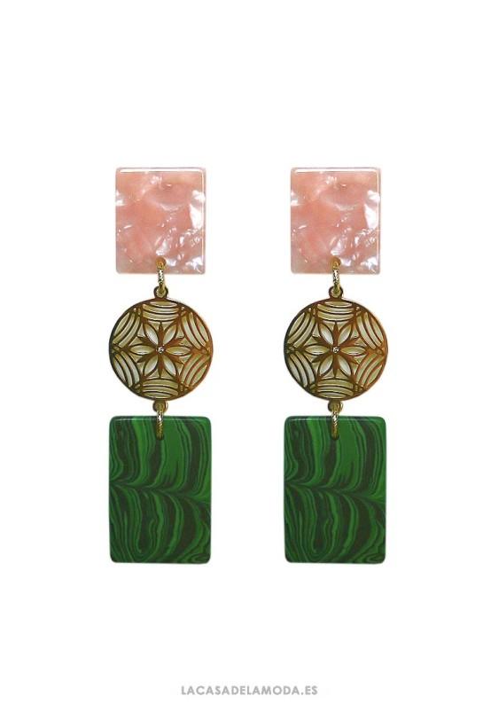 Pendientes dorados rosa y verde