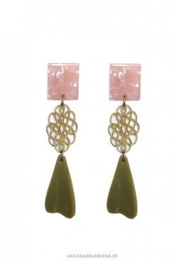 Pendientes elegantes rosa verde y dorado