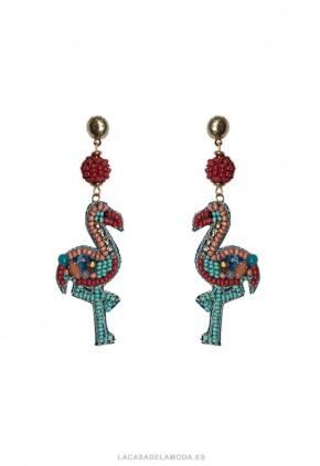 Pendientes flamenco con bolitas de colores