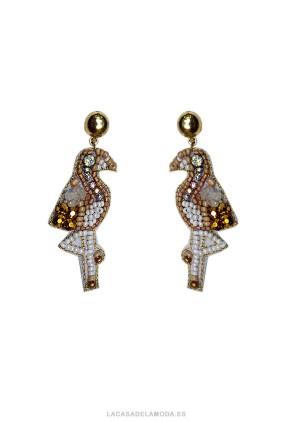Pendientes  flamencos marfil y dorado