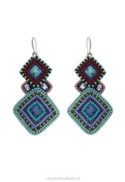 Pendientes geométricos verde azul