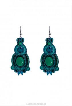 Pendientes mujer verde y azul