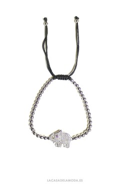 Pulsera elefante de la suerte plata y circonitas