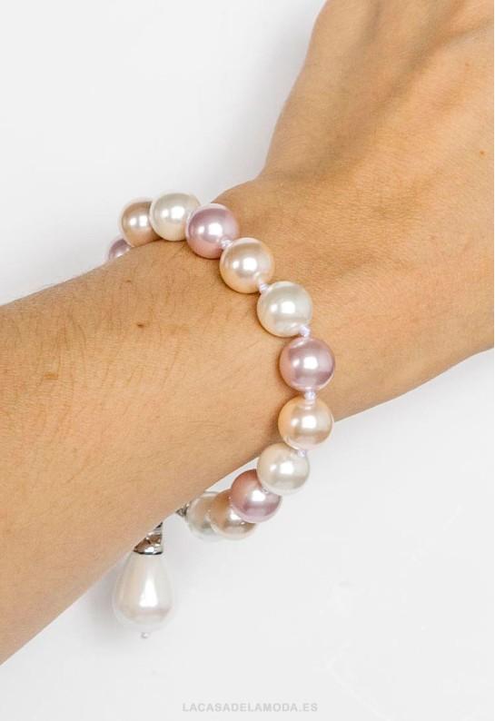 Pulsera perlas blancas y rosas