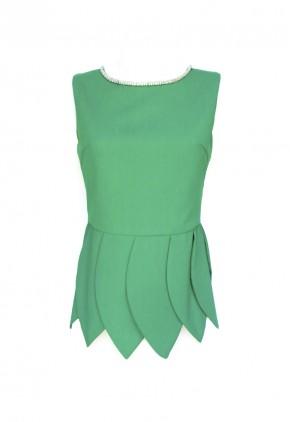Blusa asimétrica fiesta verde esmeralda con collar cosido cuello