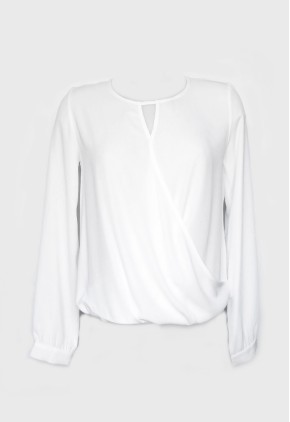 Blusa blanca cruzada frac y manga