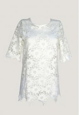 Blusa blanca de vestir encaje macramé con manga