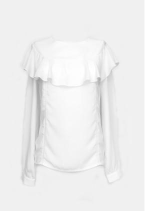 Blusa blanca peplum en canesú y encaje