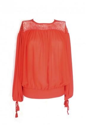 Blusa manga larga abullonada con encaje red naranja