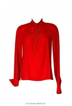 Blusa roja mujer con lazo y manga larga