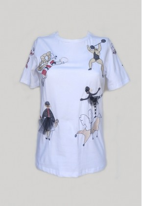 Camiseta algodón bordada circense.