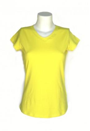 Camiseta algodón amarilla cuello pico manga corta
