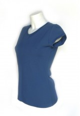 Camiseta azul cuello pico algodón