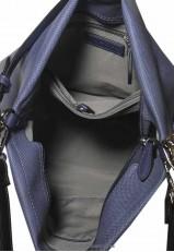 Bolso azul tote con flecos y cremallera
