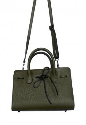 Bolso de mano verde oliva femenino con lacito