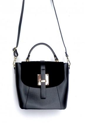 Bolso mochila negro serraje elegante