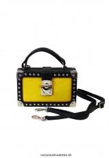 Bolso pequeño de mano o bandolera amarillo y negro