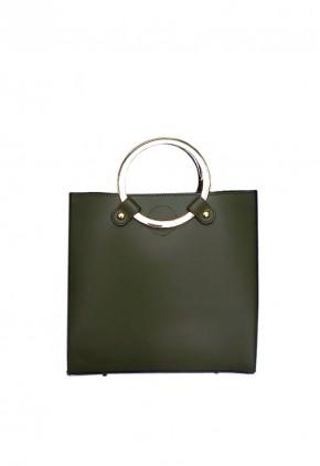 Bolso verde oliva piel de asas metálicas doradas