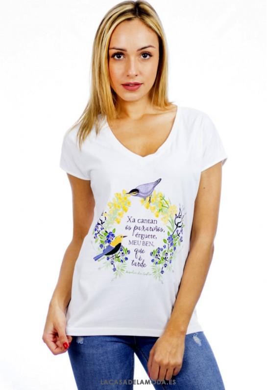 Camiseta Cuello Pico Mujer Rosalía De Castro