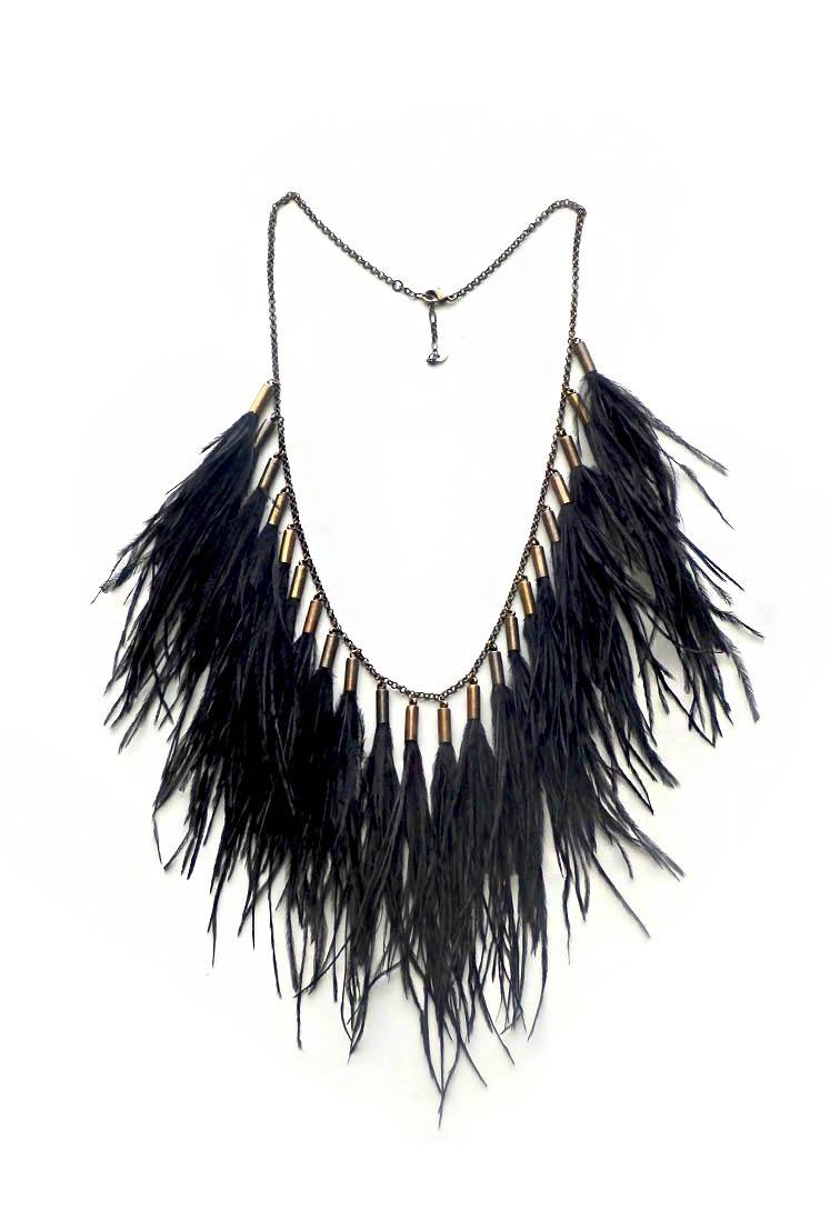 548f3157e26f Collar Boho de plumas negras y cadena dorada