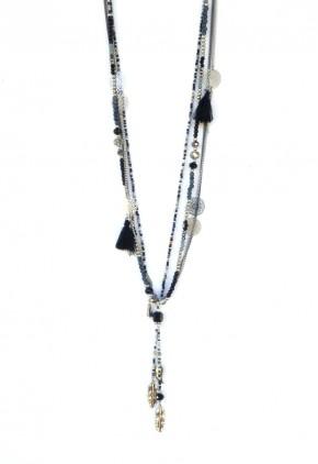 Collar gris y negro cadenas plateadas con borlas