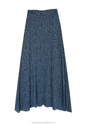 Falda azul estampada