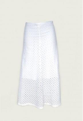 Falda blanca larga bordada algodón