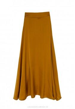 Falda de raso midi coñac