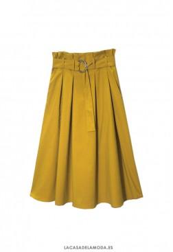 Falda de tablas midi amarillo mostaza