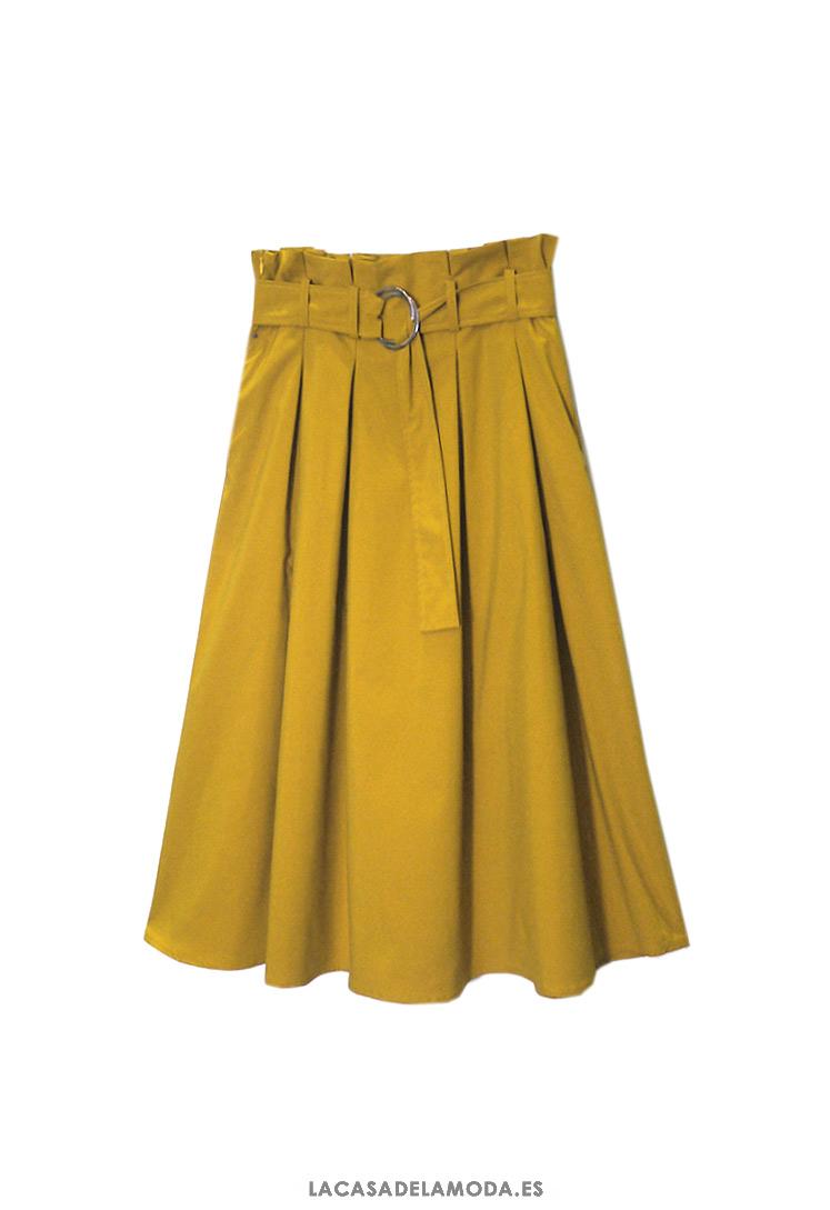 5866b439d Falda de tablas midi amarillo mostaza