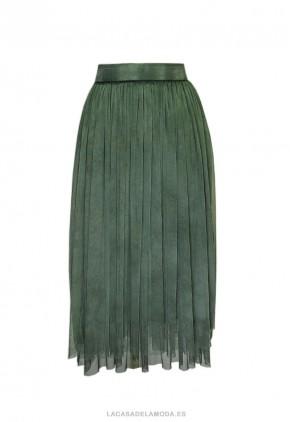 Falda de tul verde midi