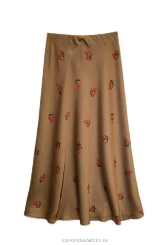 Falda estampada original al bies