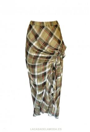 Falda estampada fiesta tubo con cuadros