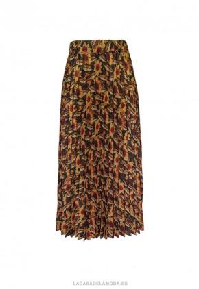 Falda estampada plisado otoñal