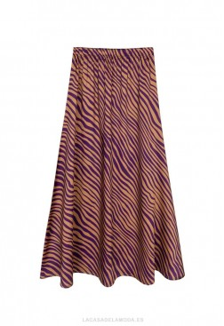 Falda estampado cebra morado y coñac