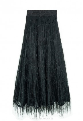 Falda de flecos negra larga