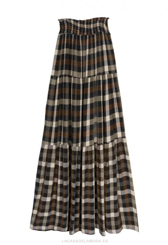 Falda larga de cuadros