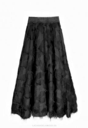 Falda larga flecos negra