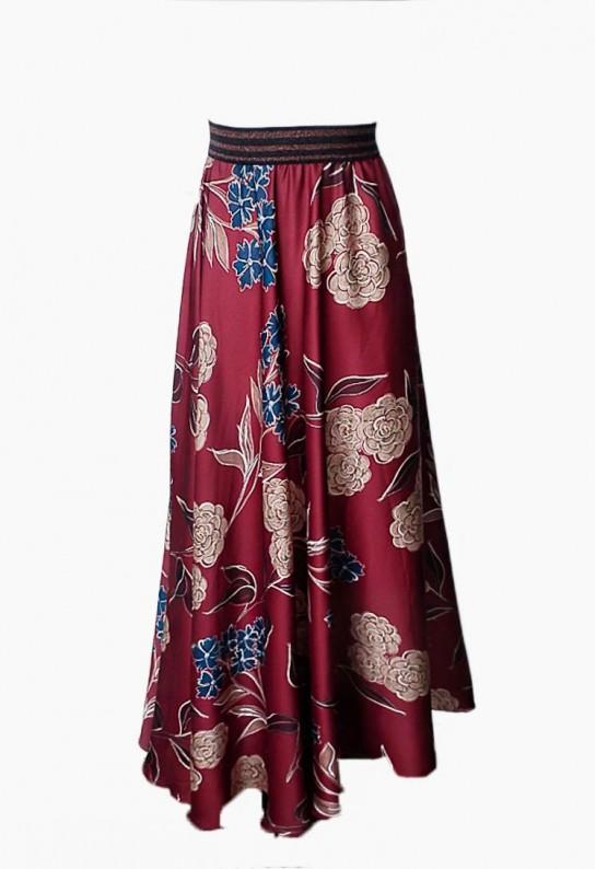 Falda larga granate floral estampada fluída y elegante