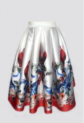 Falda larga midi estampada loros.