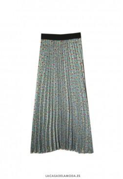 Falda larga plisada azul celeste estampada