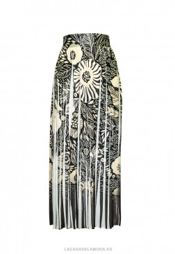 Falda larga plisada estampada