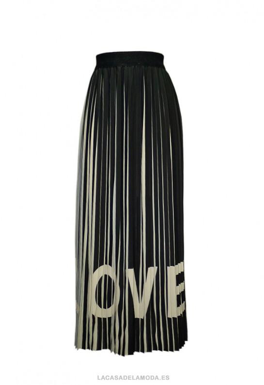Falda larga plisada negra Love
