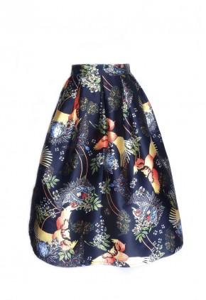 Falda midi azul estampada búhos.